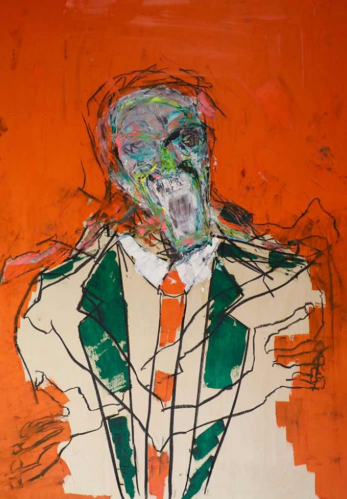 Abstract figure of a man in suit with tie and orange surround the figure is screaming