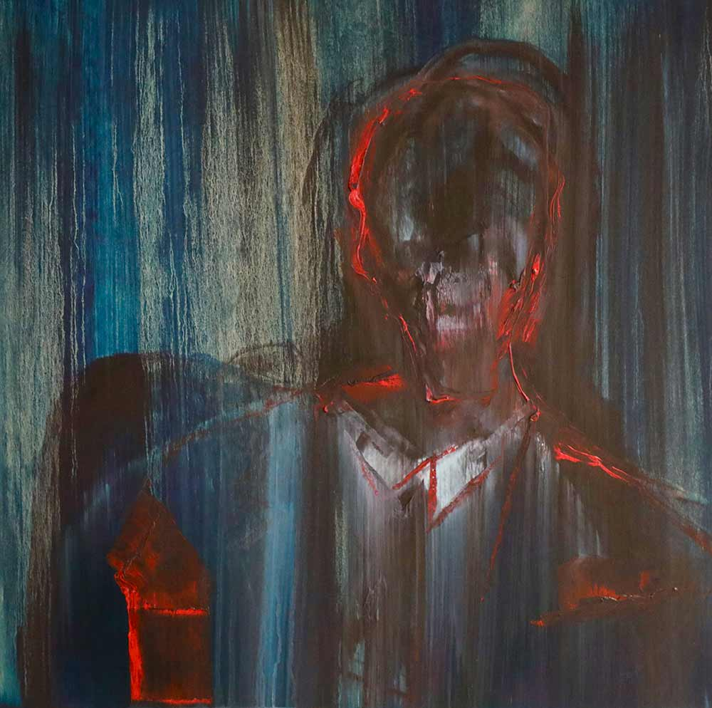 Figure of a man in shirt and suit with glow of red created by Lincoln Townley