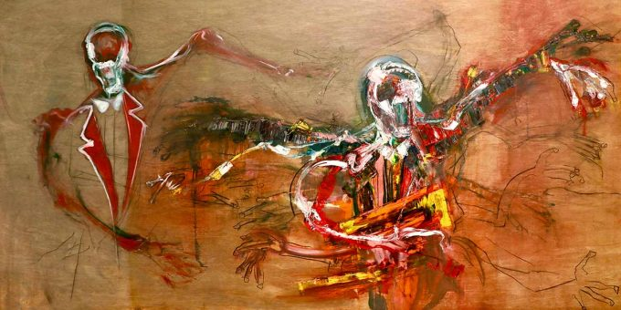 Abstract painting on board by Lincoln Townley