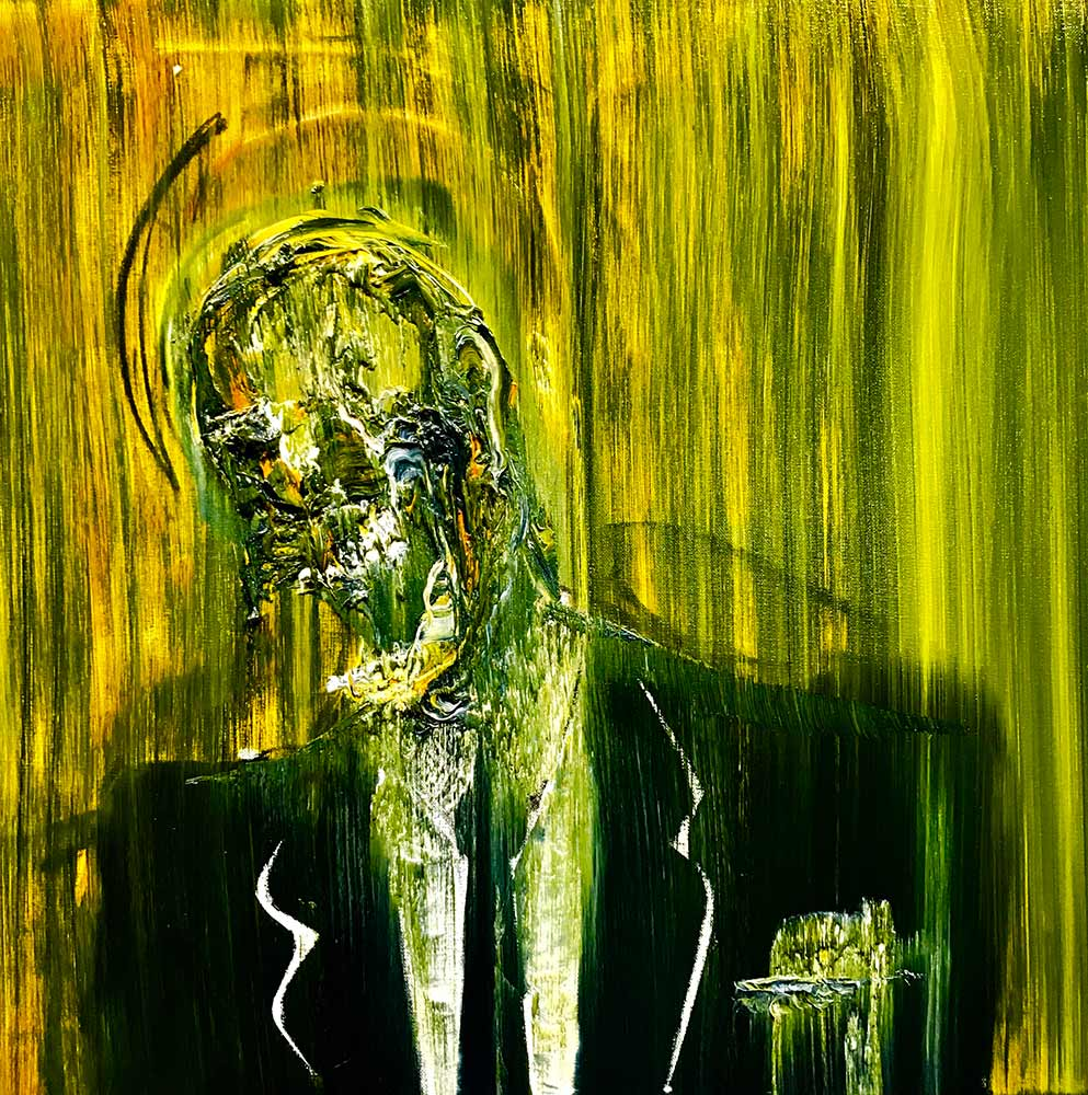 Abstract figure of a banker in black suit with yellow and green background part of Lincoln Townley's banker collection to be shown at La Biennale 2019 in Venice