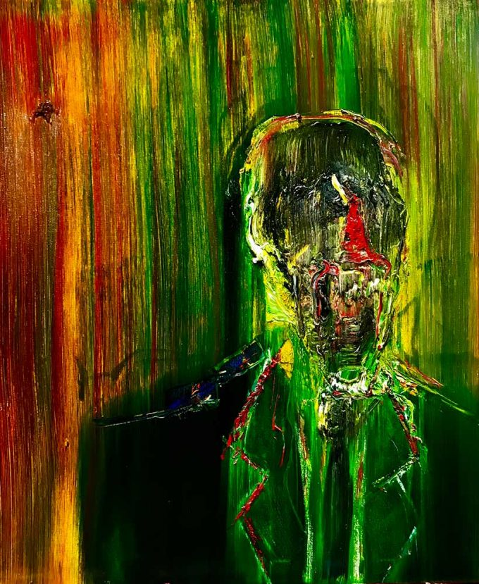 Screaming head of a banker in black suit the image sits on a background of red and green with elements of yellow