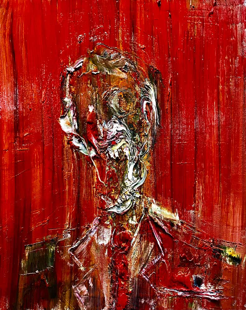 Skull like figure based on a banker from Lincoln Townley's new La Biennale collection with red background