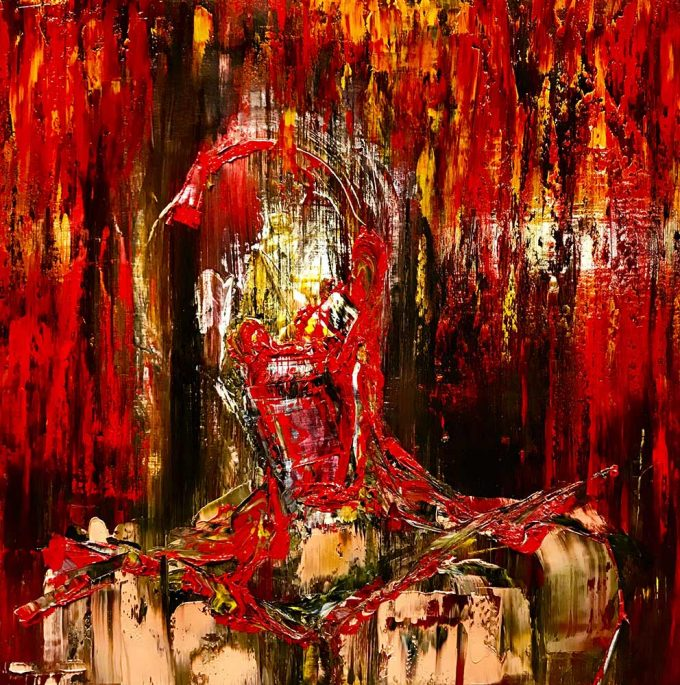 Deconstructed head of banker naked in abstract background of red and gold