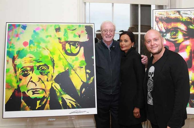 Michael and Shakira Caine with Lincoln Townley at his Somerset house show in London. At the event Townley unveiled several portraits of Sir Michael and many other famous faces were revealed on the night.