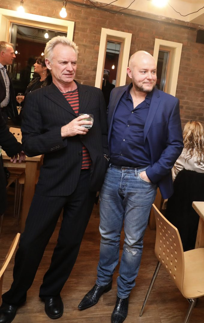 Musician Sting and British artist Lincoln Townley