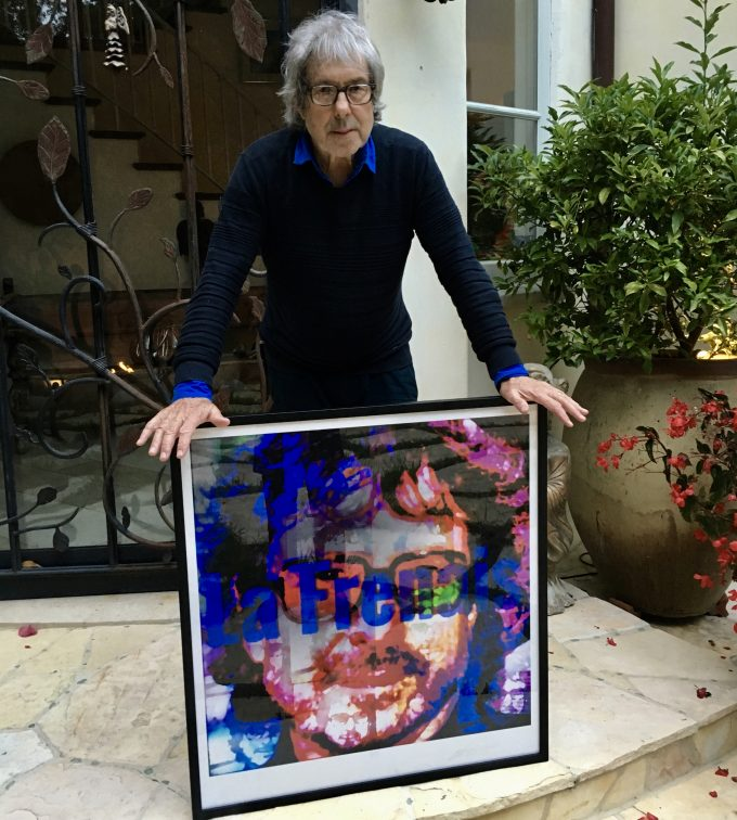 Hollywood writer Ian La Frenais seen here with his portrait by British artist Lincoln Townley