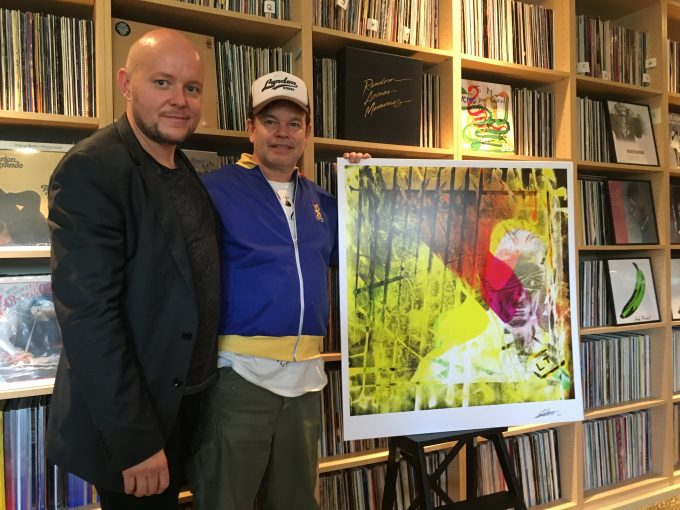 British artist Lincoln Townley with DJ star and record producer Paul Oakenfold. The piece in the photo is a remix of Townley's Bowie Black Star especially ordered by Oakenfold.
