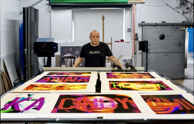 British artist Lincoln Townley seen here with a selection of abstract portraits created for the Los Angeles fashion week