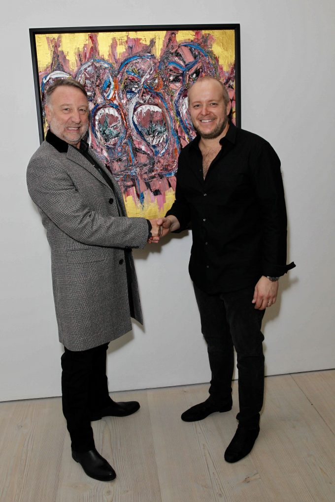 Musician Peter Hook and British artist Lincoln Townley
