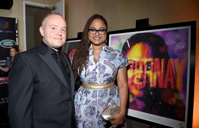 Film Director Ava Duvernay seen here with British artist Lincoln Townley