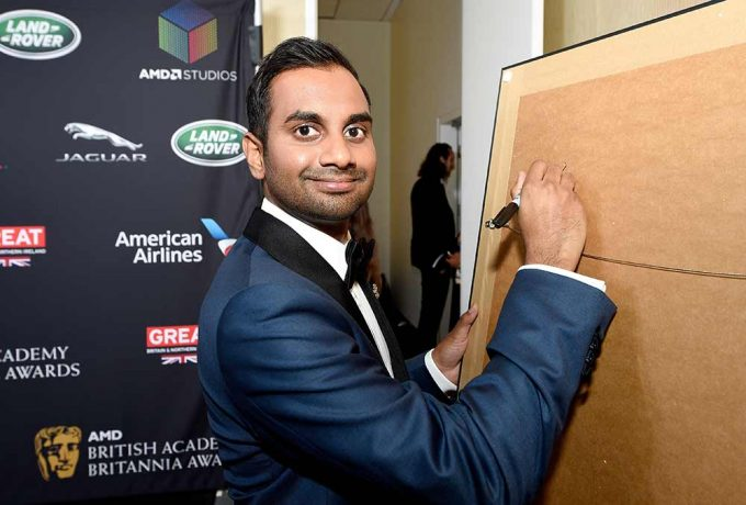 In Los Angeles picture here comedy actor Aziz Ansari with the abstract portrait by British artist Lincoln Townley. The painting was created in Townley's studio in Manchester, England. Aziz being one of many directors to be immortalised by the ICONS portraits collection over the years.