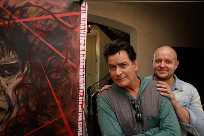 Actor Charlie Sheen with b British artist Lincoln Townley with the incredible portrait created b y Lincoln Townley which was one of the first Icon portraits ever created