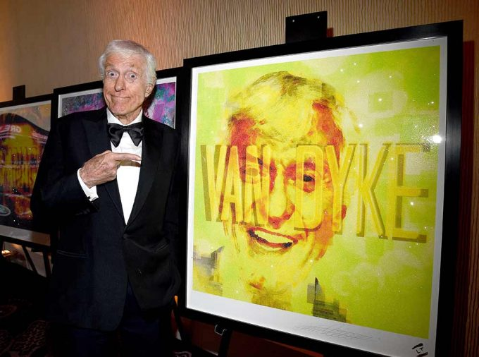 Comedy legend Dick Van Dyke stands with his abstract portrait created by British artist Lincoln Townley