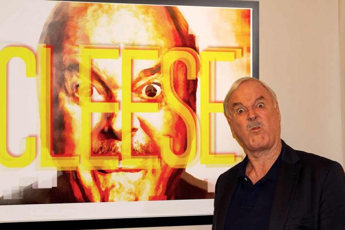 Comedy hero John Cleese seen here with the abstract portrait created by British artist Lincoln Townley. This particular portrait has now become available for the first time, the piece is also available in black and white with a diamond dusted finish.