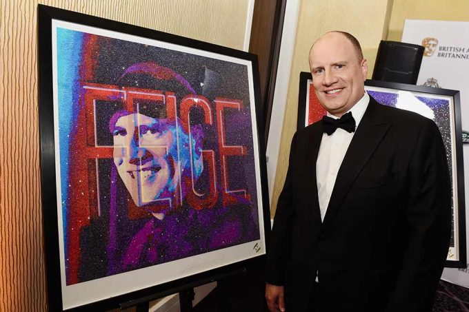 In Los Angeles picture here the Marvel Studio CEO Kevin Feige with the abstract portrait by British artist Lincoln Townley. The painting was created in Townley's studio in Manchester, England. Kevin being one of many directors to be immortalised by the ICONS portraits collection over the years.