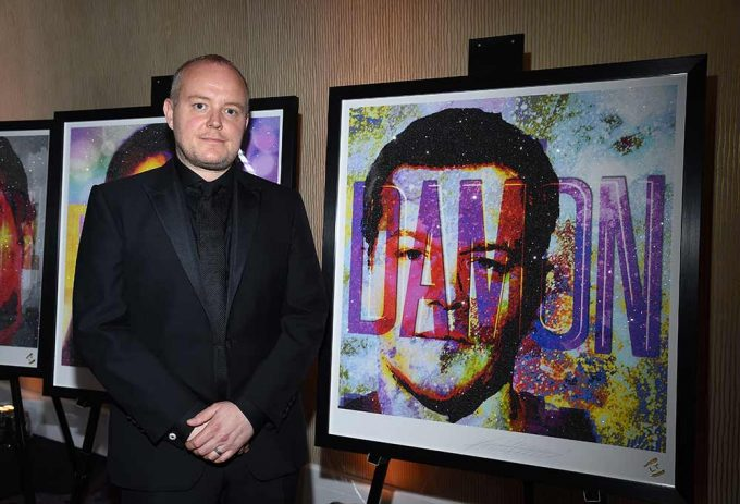 British artist Lincoln Townley with his portrait of the actor Matt Damon created for the Bafta LA Britannia awards, these portraits are available through the studio of Lincoln Townley, the portraits are finished in a diamond dust and framed to a museum standard.