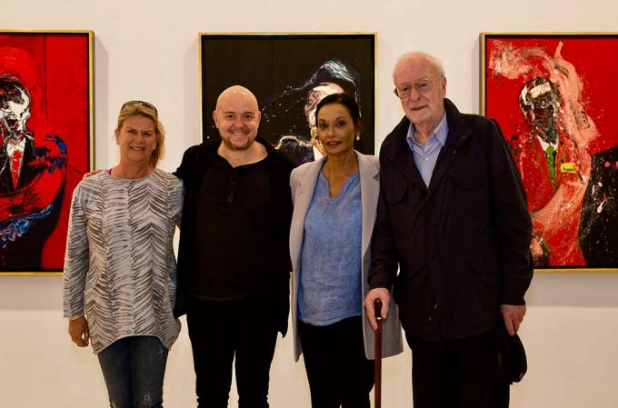 Actor Michael Caine come to Saatchi to support the new show by British artist Lincoln Townley