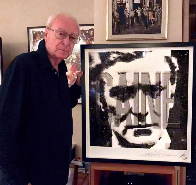 The great actor Michael Caine with a portrait created by Lincoln Townley