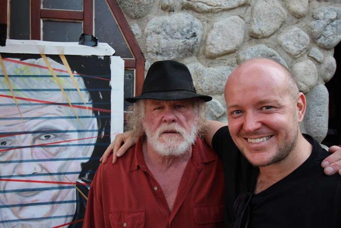 Film actor Nick Nolte with British artist Lincoln Townley seen here at Nicks home in Los Angeles