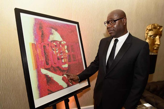 Film Director Steve McQueen with his abstract portrait created by Lincoln Townley